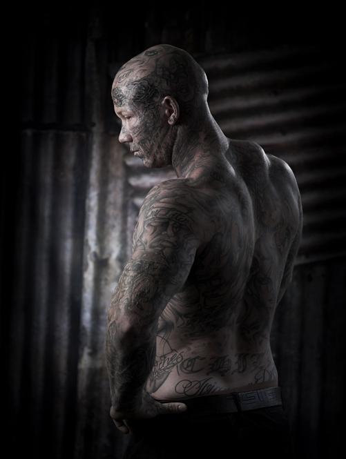 Tattooed guy in the studio